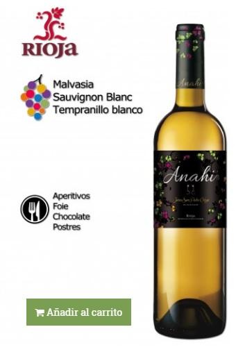 vino elaborado con uva tempranillo blanco